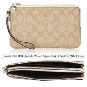 Coach Signature Double Zip Wristlet Wallet Phone C